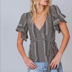 Free People | Striped Ruffle sleeve wrap blouse